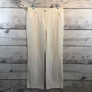 St John Caviar White Straight Stretch Pants 10